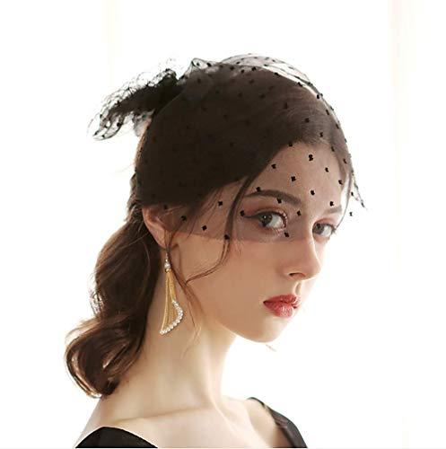 Deniferymakeup Black and White Bridal Veil Hat Birdcage Bowknot Tulle Veil Soft with Comb Short Wedding Veil for Bride (Black)