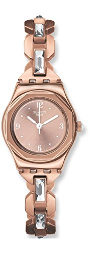 Swatch Reloj de Mujer YSG136G Chapado en Oro de 24 mm, Caja de Acero Inoxidable Chapado en Oro Rosa y Oro Rosa.