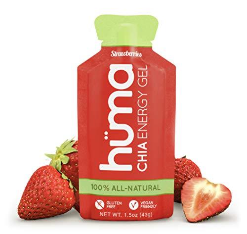 Huma Chia Energy Gel, Strawberries, 12 Packets - Premier Sports Nutrition for Endurance Exercise