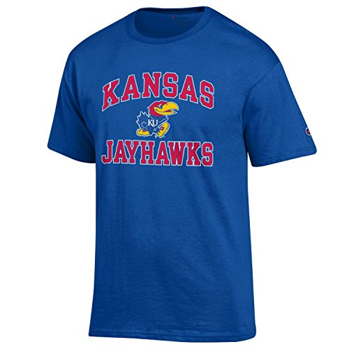 Champion NCAA Men's Shirt Short Sleeve Officially Licensed Team Color Tee, Kansas Jayhawks, Medium