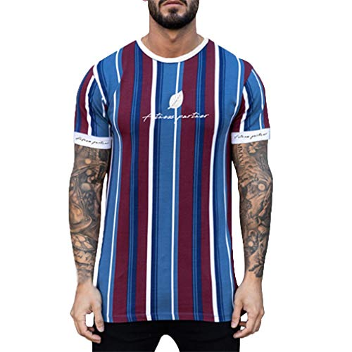 Eaylis Herren T-Shirts Kurzarm Sommer KurzäRmliges Fitness-Top Mit Vertikalen Streifen Und Blattmuster