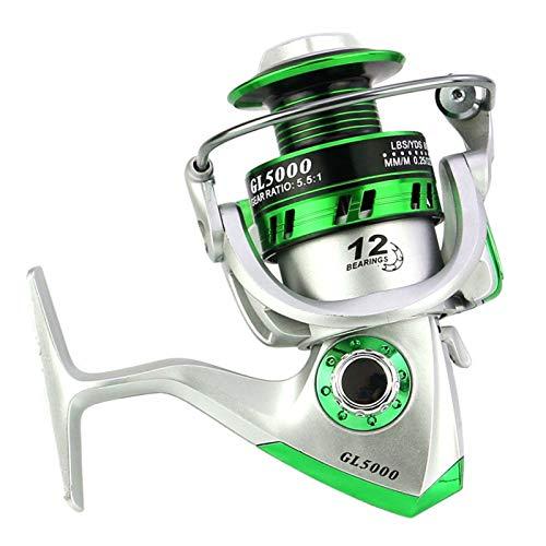 12BB Spinning Angelrolle 1000-7000 5.5: 1 Metallkarpfen Angelrad Spinning Rolle für Fischereimetallbecher (Color : Silver, Spool Capacity : 2000 Series)
