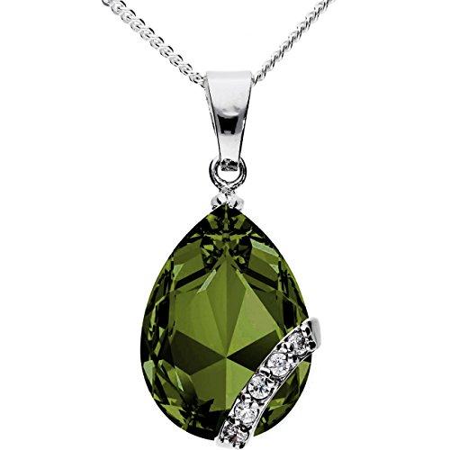 MYA art Damen Kette Halskette 925 Silber Tropfen mit Ornament Anhänger Zirkonia Grün MYASIKET-27