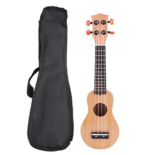 Dilwe 17 Pulgadas Ukulele, Portátil Ukulele Sólido Mini Viajar Guitarra con Bolsa (Pino Rojo)