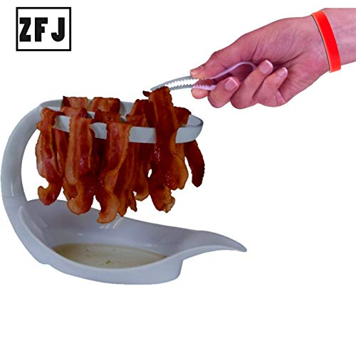 Microwave Bacon Cooker Bacon Rack - Reduces Fat up to 35% for Healthy Breakfast Microwave bacon Tray Make Crispy Bacon in Minutes with a Bonus Convenient Tong.