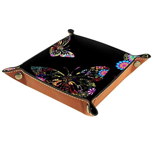 Bandeja de cuero para hombres y mujeres, organizador de escritorio personalizado para joyas y cosméticos, gafas, cartera, oficina, uso en el hogar, mariposa negra