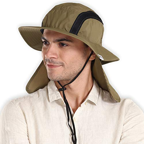 Outdoor Boonie Sun Hat for Men & Women - Wide Brim Summer Hat with Packable Neck Flap for Sunburn &...