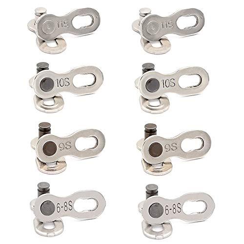 HPiano 4 Pairs Fahrrad Fehlt Link für 6 7 8 9 10 11 Geschwindigkeitskette Wiederverwendbare Silberne Stahl Fahrradkette, Fahrradkettenglied Verbindungsglied für 6 7 8 9 10 11 Fach