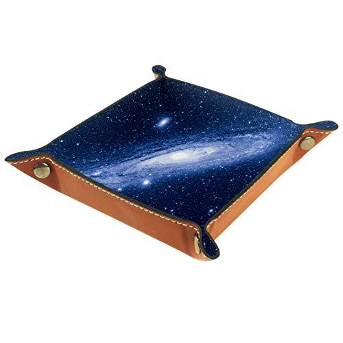 Aufbewahrungstablett Solide Würfelhalter Faltbare Home Schnalle PU-Leder Schlüssel Quadratisch Brettspiel Andromeda Galaxy