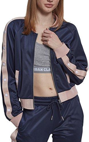 Urban Classics Ladies Button Up Track Jacket Veste de Sport, Bleu (Bleu Marine/Rose Clair/Blanc 01331), M Femme