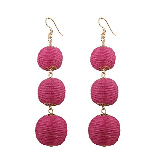 1Pair 6 Solid Color Wax Ball Pom Pom Long Drop Earrings Bohemian Beads Tassel Dangle Earrings(Rose)