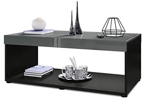 Vladon Couchtisch Wohnzimmertisch Pure mit Zwei großen Ablageflächen, Korpus in Schwarz matt/Tischplatte und Blenden in Grau Hochglanz | Große Farbauswahl