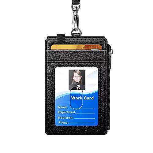 【CaserBay】Slim RFID Blocking Card Holder, Zip Pocket Wallet, Credit Card, Front Pocket Wallet With Removable Lanyard【Black】