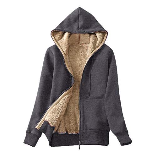 MOMBIY Damen Langarm Kapuze Plus Fleece Composite Jacke Pullover einfarbig Kapuzenpulli Outwear Jacken Sweatshirt