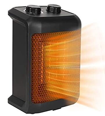 BEYOND BREEZE Small Space Heater, Ceramic Oscillating Portable Electric Heater, Space Heater with Tip-Over Switch, Overheat Protection, Adjustable Thermostat, Quiet and Safe for Indoor Use Office Bedroom Bathroom 750/ 1500W
