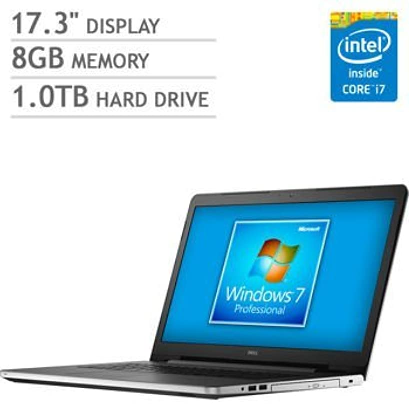 Dell Inspiron 17 17.3-Inch Laptop with Windows 7 Professional (Intel Gen 5 Core i7-5500U 4MB Cache up to 3.0GHz, 8GB DDR3 RAM, 1TB HDD, Tray load DVD +/-RW, Dual-Band 802.11AC WiFi, Bluetooth 4.0, Full Size Backlit Keyboard)