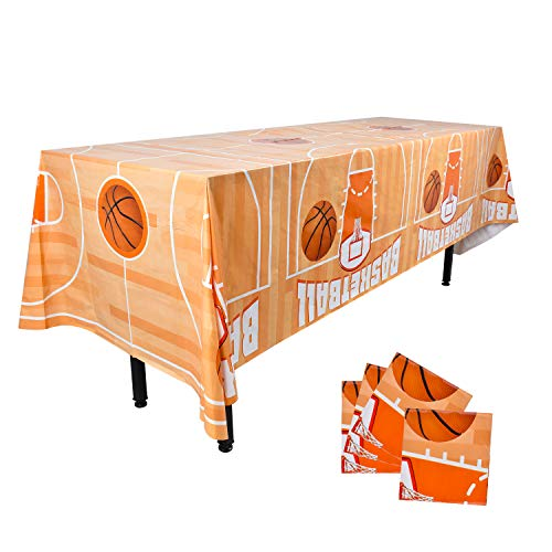 Gatherfun Basketball Party Disposable Tablecloth Plastic Table Cover for Basketball Theme Party Kids and Adult Birthday March Madness Party Decorations 4PCS 54X108inch