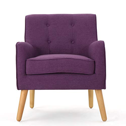 Christopher Knight Home Felicity Mid-Century Fabric Arm Chair, Purple