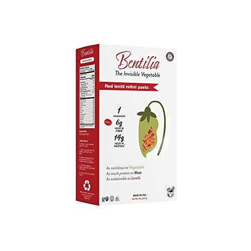 Bentilia Gluten Free Organic Red Lentil Rotini Pasta | Healthy Snacks, Gluten Free, High Fiber, High Protein, Vegan, Healthy Snack, Pantry Staple, Whole Food, High Vitamin | 6x8oz Boxes