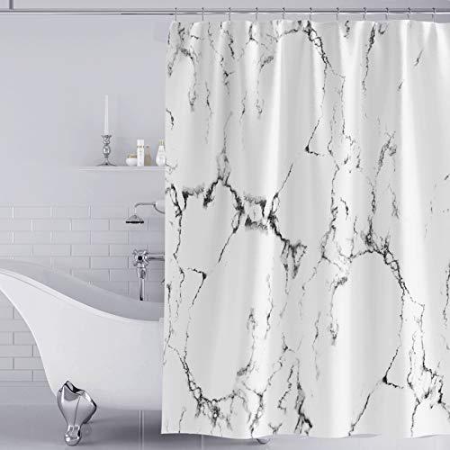 YISUN Anti-Schimmel Duschvorhang, Anti-Bakteriell Duschvorhang, waschbar mit 12 Duschvorhangringen (Weiß/Schwarz)