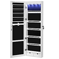 """cheap SONGMICS Extended Jewelery Cabinet 4.9 """"Depth and 6 Drawers Lockable Door / Wall …"""