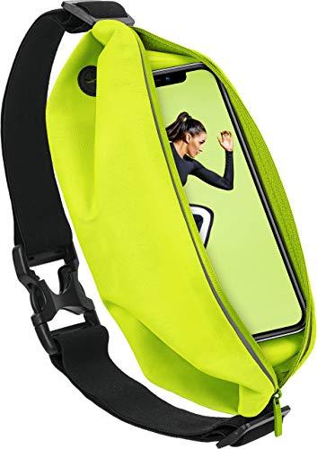 MoEx® Sport Gürteltasche Leicht & Wasserfest - für alle Vernee Handys | In- & Outdoor Fitness Handytasche, Lauftasche, Hüfttasche, Jogging Handy-Hülle, Laufgurt, Bauchtasche Joggen, Neon Gelb