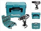 Makita DHP 482 ZJ W Akku Schlagbohrschrauber 18V 62Nm im Makpac - ohne Akku, ohne Ladegerät + 100 tlg Bit & Bohrer Set