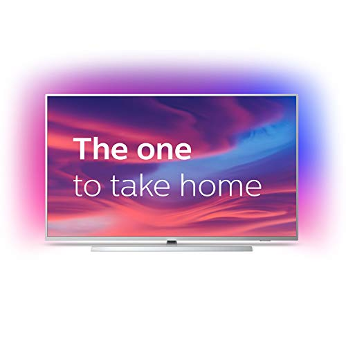 Philips 65PUS7304/12 65-Inch 4K UHD Android Smart TV with Ambilight and HDR 10+, Works With Alexa - Bright Silver (2019/2020 Model)