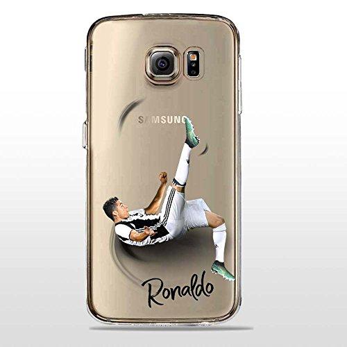 S6 Cover TPU Gel Trasparente Morbida Custodia Protettiva, Soccer Collection, CR7 Juve, Galaxy S6
