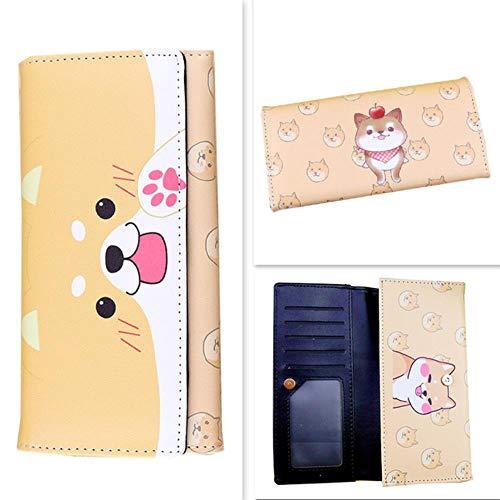 Twhoixi Neko Atsume Katze Hinterhof Shiba Inu Tier Katzen Hunde Anime Studenten Männer Frauen Lange Brieftasche Kartenhalter Geldbörse Taschengeld Geldbörse Präsentieren