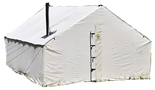 Montana Canvas 12' x 14' Wall Tent and Frame Package, Safari Type Tent Package, Quality 10oz Treated Canvas Wall Tent and Frame, Treated Canvas Wall Tent and Frame, Internal Aluminum Frame,