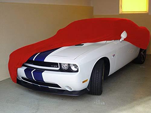 Schwarzes AD-Cover® Mikrokontur mit Spiegeltaschen für Dodge Challenger SRT8, schützende Autoabdeckung mit perfekter Passform, hochwertige Abdeckplane als praktische Auto-Vollgarage