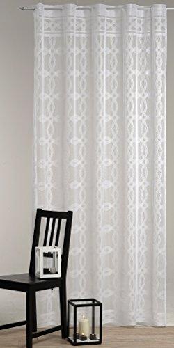 Bellissima tenda decorativa con occhielli, in voile, mod. 'Lovely Rings', bianca - trasparente - ariosa e leggera - pronta da appendere - dimensioni 140 cm x 235 cm - accorciabile a 225 cm - Elegante e moderna - in KAMACA-SHOP