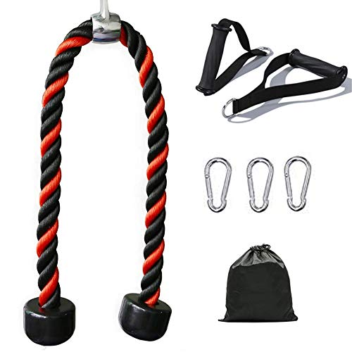 HAUSPROFI Tricep Rope Cable Attachment 26 Inch with 2 Exercise Handles + 3 Carabiner Clips & Carry Bag - Tricep Pull Down Rope - Cable Attachments for Gym, Home Gym Accessories