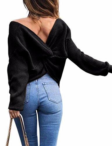 EMMA Damen Herbst Winter Sexy Casual V-Ausschnitt Pullover Loose Rückenfrei Fledermaus Batwing Rücken Kreuz Lange Ärmel Sweater Stricken Pullover, Schwarz, One Size