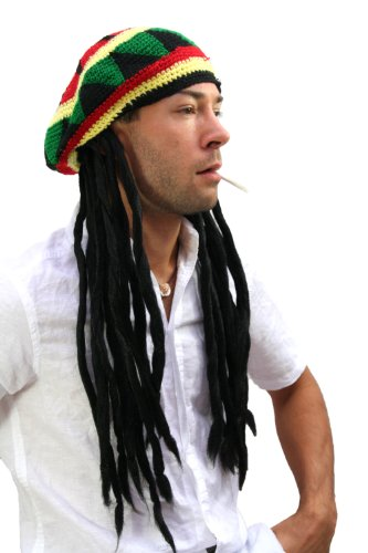 WIG ME UP - rasta2-P103 Strickmütze mit Dreadlocks (Bob Marley, Rastafari)