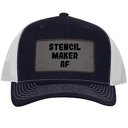 Stencil Maker AF - Leather Grey Patch Engraved Trucker Hat, Navy-White, One Size