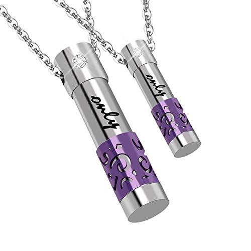 Preisvergleich Produktbild WgYoo Aromatherapie Diffusor Paar Anhänger Aroma Medaillon Hohl Parfüm Flasche Gefüllte Halskette Denkmal Halskette-6