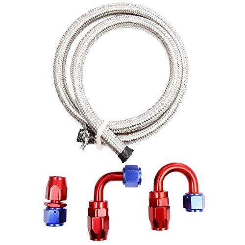YEXIANG Ölkühler Schnellkupplung AN10 Edelstahl Flexible Geflochtene Kraftstoffkühler Schlauch 1M mit 3 Adapter 1X0 Grad, 90 Grad 1X,