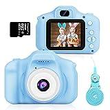 Cámara de Fotos para Niños, Hommie Camara Fotos Infantil Videocámara 8MP/LCD 1080P HD, Camara para Niños con 3 Juegos y 16GB Tarjeta TF y Acollador, Regalos Navidad y Cumpleaños Niños 3-12 Años, Azul