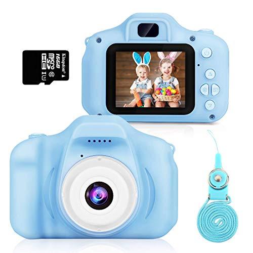 Cámara para Niños,Hommie cámara de Video 1080p HD con Mmoria 16GB, Doble Lente, Pantalla LCD a Color,Cámara para Niña, Azul