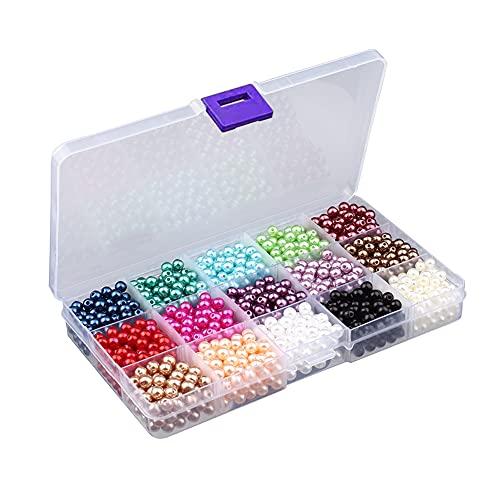 Amindz 1500 Pezzi 6mm Perla Rotonde Perline,Perla Rotonde Colore,Perle D'arte,Perline Sfuse per Braccialetti,Collane,Gioielli,Progetti Fai da Te