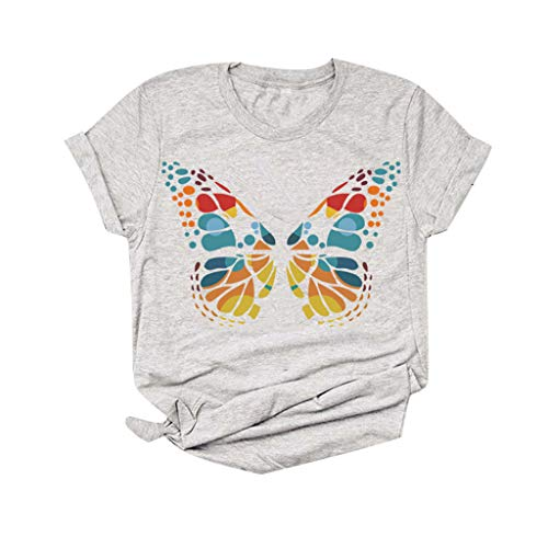 T-Shirt Bluse Frauen Kurzarm 3D Butterfly Printed O-Neck Plus Size Tops T-Shirt (XL,5Grau)