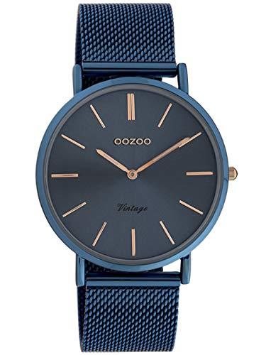 Oozoo Vintage Damenuhr mit Milanaiseband Blue Steel 40 MM Blau C20002