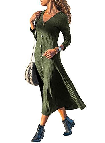 Minetom Herbst Winter Strickkleider Damen V Ausschnitt Langarm Pullover Kleider mit Knopfleist Elegant Partykleid Ballkleid Grün DE 38
