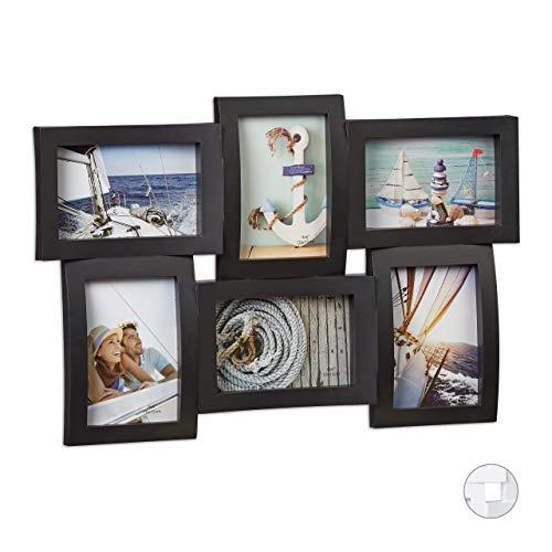 Relaxdays Bilderrahmen für mehrere Fotos, Collage für 6 Bilder, Fotorahmen 3D-Optik, zum Hängen, 33 x 47,5 cm, schwarz