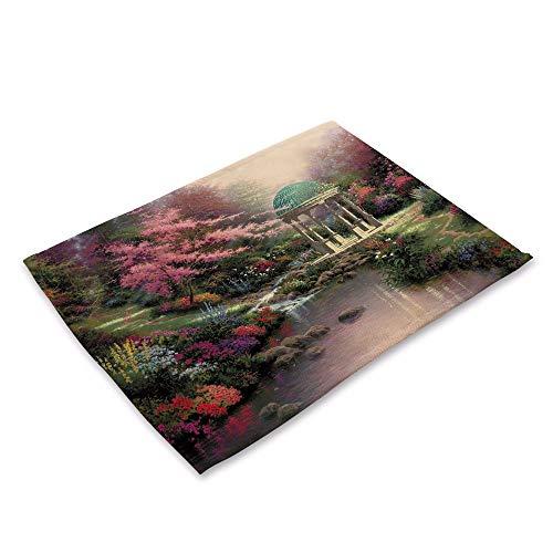 Style Simple Set de Table,Pays de Pastorale américaine Isolant Artistique Art Lin Lin Coton Mat, (6 pièces) Placemats