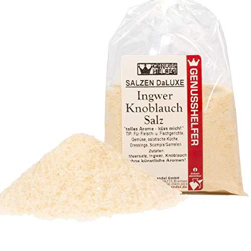 Ingwer Knoblauch Salz 100 Gramm gemahlen, Salzen DaLuxe, Gourmet Salz, ohne Geschmacksverstärker & ohne Zusatzstoffe - Bremer Gewürzhandel