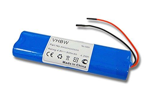 vhbw Akku-zellen 900mAh NI-MH (4.8V) mit Anschluss-Kabel für Fluchtweg, Notbeleuchtung, Elro NV42, ELRD4AA900 900