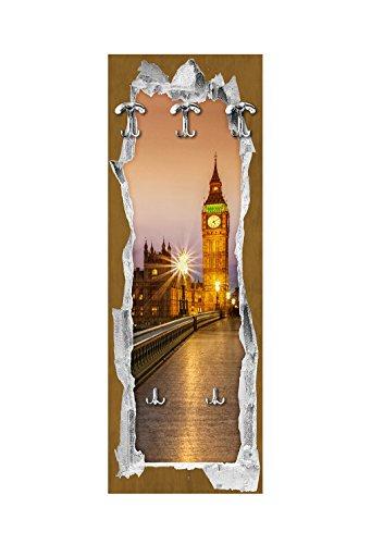 Lupia wandgarderobe van hout 3 haken + 2 zakken View Of Londen Brown 49 x 139 cm